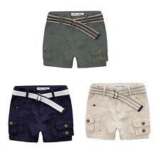 NEW Boys Kids Summer beach Cotton Shorts WITH BELT Navy - Green - Khaki sz 00-7