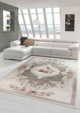 Tapis fleurs salon tapis lavable en beige rose