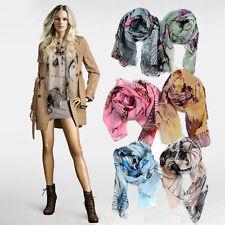 Womens Flower Pattern Fashion Neck Scarf Soft Wrap Shawl 6 Colours