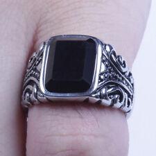 Men's Vintage Silver Stainless Steel Black CZ Ring Size 8-12 SR96