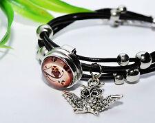 EULE Armband +++ Wechselschmuck Button Druckknopf Leder Anhänger snap Uhu Owl