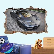 Rapide sport voiture de luxe 3D smashed autocollant mural chambre décoration autocollant murale YO8
