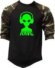 Men's Rave Alien DJ Camo Baseball Raglan T Shirt Party Dance Music Fest EDM V412