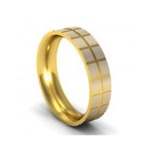 9 Ct Oro Amarillo 5mm Mosaico Diseño Acabado Satén Alianza