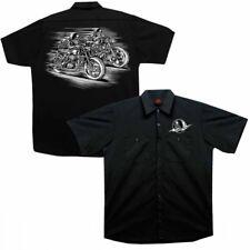 Skull racers worker shirt Biker 35% cotton 65% polyester sérigraphie Moto Chemise