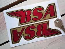 BSA en forma de Motocicleta Pegatinas 150mm Oro Rojo Negro Victor Star A65 A10 B44 B25