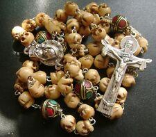 *Handmade Old Bone Skull & copper Beads catholic ROSARY CROSS NECKLACE crucifix