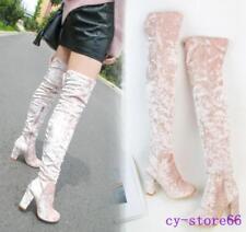 New Womens Ladies Velvet Wide Calf High Block Heels Pull On Over The Knee Boots