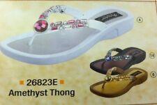 Grandco Ladies Amethyst Jewels Low Heel Thong Sandal Black Khaki or White 26823E