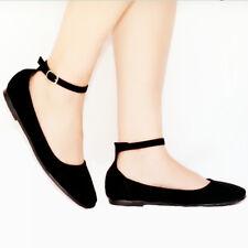 Women Ladies Nubuck Ankle Strap Ballet flat Shoes Black,Taupe 2891