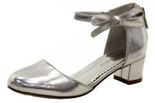 Nine West Girl's Pamela Silver Dress Mary Janes Heels Shoes