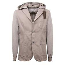 C3188 giacca uomo NO BRAND cappuccio tortora jacket man