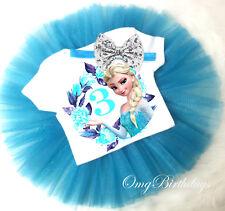 3rd Third Birthday Princess  Princess Elsa Frozen Headband Tutu Outfit Set Girl