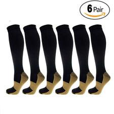 6PACK Copper Infused Compression Sport Socks 20-30mmHg Graduated Men Women Black