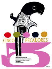 Cinco pecadores vintage Movie POSTER.Graphic Design. Wall Art Decoration.3662