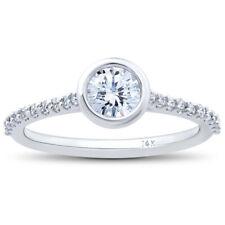GSI 3/4ct Charlotte Diamond Engagement Ring 14k White Gold Lab Grown Bezel Round