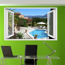 Luxe piscine vacances Villa Autocollants muraux 3D Art Mural Chambre Bureau Shop DECOR TV4
