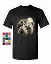 Wolf Howl T-Shirt Wild Wolf Pack Predator Animals Nature Moon Mens Tee Shirt