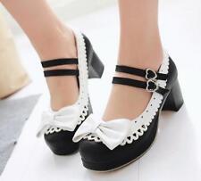 Sweet Lolita Womens Bowknot Ankle Strap Block Heels Mary Jane Pump Shoes Plus SZ