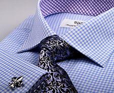 Light Blue Checkered Formal Business Dress Shirt Purple Boss Easy Gingham Style