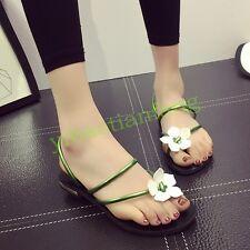 Womens Flower Flip Flop Slippers Slip On Casual Shoes Open Toe Flat Beach Mules