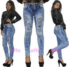 Jeans donna strappati vita bassa Denim skinny slim pittura elasticizzati   1087H