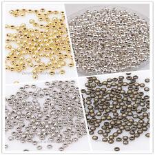 1000 Metallperlen Silber Perlen Rund SPACER Beads zum Basteln DIY Schmuck 3mm A+