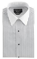 Formal White w/ Black Stripe Fashion Dress Shirt Soft Microfiber Tuxedo or Suit