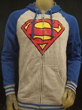 New Men's Superman Blue & Gray DC Comics Distressed Zip up Hoodie Sweater