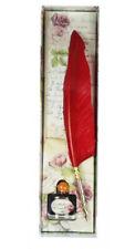 Set plume calligraphique rouge et embout doré 27cm avec encre abricot