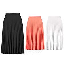 Ladies Womens Pleated Crepe Summer Casual Midi Skirt UK 8-14