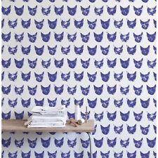 Grunge cat pattern noisy purple removable wallpaper self adhesive reusable