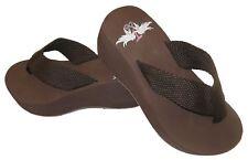 Trendy Design's Brown Flip Flops Wedge High Heel Comfortable US Womens Sz 4-11