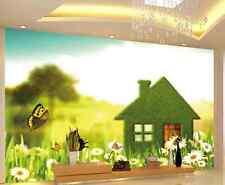 3D Chalet Vert 3 Photo Papier Peint en Autocollant Murale Plafond Chambre Art