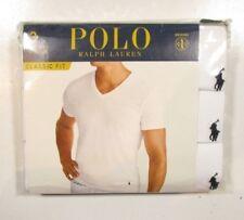 Polo Ralph Lauren Men's White Classic Fit V-Neck Moisture Wicking T-Shirt 3 Pack