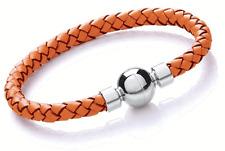 Designer - Tribal Steel - Ladies Plaited Leather Bracelet