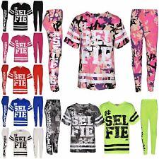 Girls Top Kids Designer's #Selfie Fashion T Shirt Top & Legging Set 7-13 Years