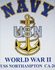 USS NORTHAMPTON CA-26* WORLD WAR II* HEAVY CRUISER  U.S NAVY W/ ANCHOR* SHIRT