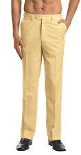 CONCITOR Men's Dress Pants Trousers Flat Front Slacks Solid GOLD Color