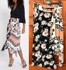 River Island NEW Womens Asymmetric Hem Black Pink White Floral Midi Skirt 6 - 18