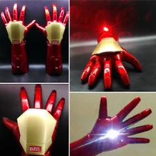 1:1 The Avengers Iron Man Tony Stark Gloves LED Light Hand Laser Cosplay Props