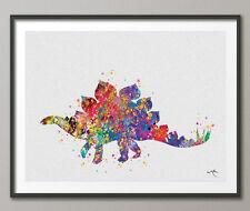 Stégosaure Dinosaure Art Print Aquarelle Peinture Imprimé Pour Enfants Mur Des