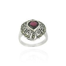 Sterling Silver Marcasite & Garnet Filigree Heart Ring