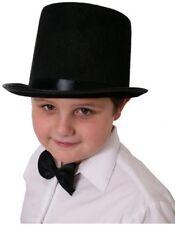 CHILDS TOP HAT 55CM BLACK FELT SATIN BAND MAGICIAN VICTORIAN FANCY DRESS COSTUME