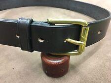 "Handmade Bridle Leather Belt, Dark Havana, Brass West End Roller Buckle 1.5"""