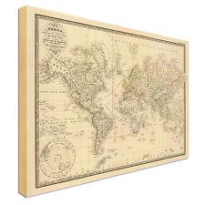 GRANDE Stile Antico Vintage Stile Mappa del mondo Foto Su Tela Grande + qualunque dimensione