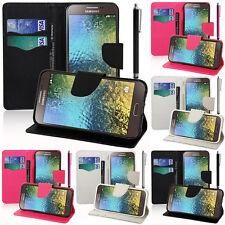 Housse Etui Portefeuille Silicone PU Effet Tissu Samsung Galaxy E7 SM-E700 E7000