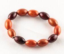 Orange and Brown Acrylic Bead Stretch Bracelet