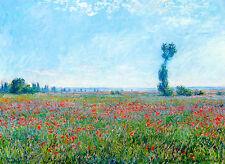 Monet 1881, Poppy Field, Fade Resistant HD Art Print or Canvas
