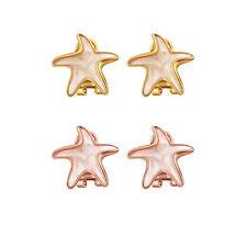 "18K Rose Gold Plated Earrings Stud Push Back Starfish .72"" L306"